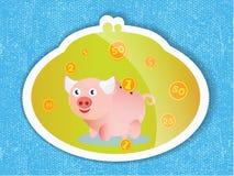 Hucha con las monedas y un cochinillo rosado en fondo azul Foto de archivo libre de regalías