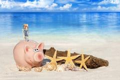 Hucha con los billetes de banco en la playa foto de archivo