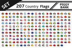 hucha de 207 banderas de país Imágenes de archivo libres de regalías