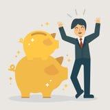 Hucha de oro doble Concepto del ejemplo del dinero del ahorro ilustración del vector