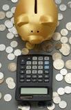 Hucha de oro que mira a la calculadora Pluma, lentes y gráficos Foto de archivo libre de regalías