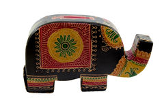 Hucha del elefante con la trayectoria Imagenes de archivo