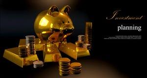 Hucha del oro y monedas apiladas Imagen de archivo libre de regalías