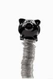 Hucha encima de la pila de monedas euro blancos y negros Imágenes de archivo libres de regalías