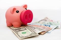Hucha rosada con la variedad de dinero en circulación Fotos de archivo