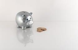 Hucha y monedas metálicas de plata con la reflexión Fotos de archivo libres de regalías