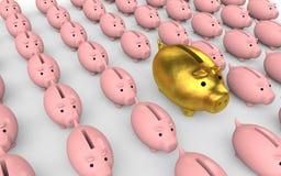 huchas de oro únicas 3d entre otros ilustración del vector