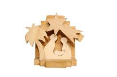 Huche en bois de Noël du famille saint - Sc de nativité Photos stock