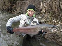 Hucho del salmone del Danubio che pesca in Europa centrale Immagini Stock Libere da Diritti