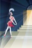 Huczenia 20s plakat z podlotek pobliską świetlicową nocą Zdjęcie Royalty Free