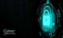 HUD关闭了在二进制编码背景的蓝色挂锁 皇族释放例证