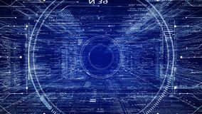 HUD技术介绍 飞行通过在科学幻想小说网络空间的数字式HUD目标 股票视频