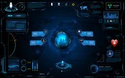 Hud接口全球网络连接技术创新概念元素模板设计 免版税库存图片