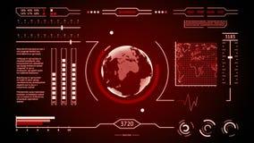 HUD接口行星地球红色的显示扫描 皇族释放例证