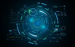 Hud接口GUI未来派技术网络概念模板 皇族释放例证