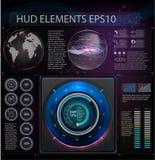 Hud背景外层空间 Abstreact元素 套元素意想不到的题材 平视显示的显示 也corel凹道例证向量 免版税库存图片