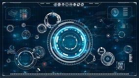 HUD Écran de radar éléments réglés de Web d'interface de cercle d'écran de radar infographic de moniteur technologie de planète d illustration stock