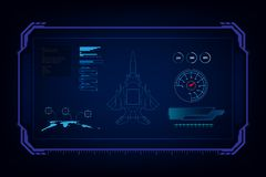 Hud αεριωθούμενος μαχητής τεχνολογίας διεπαφών GUI φουτουριστικός, διανυσματικό liiustration διανυσματική απεικόνιση