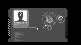 HUD Η έννοια της τεχνητής νοημοσύνης και της βιομετρικής του προσώπου τεχνολογίας αναγνώρισης απεικόνιση αποθεμάτων