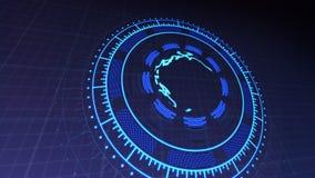 HUD με το πλανήτη Γη στο κέντρο των περιστρεφόμενων κύκλων 4k έδωσε τις βιντεοσκοπημένες εικόνες σε σκούρο μπλε απεικόνιση αποθεμάτων