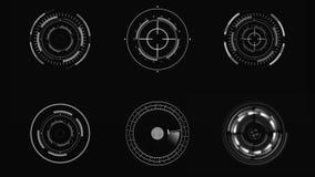 HUD Φουτουριστικό ενδιάμεσο με τον χρήστη Κυκλικά στοιχεία επίδειξης sci-Fi απόθεμα βίντεο