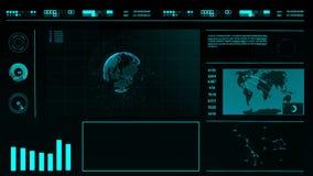 HUD Abstracte digitale futuristische interface op een donkere achtergrond met een wereldkaart, grafieken, holografische planeet stock videobeelden
