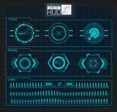 Hud achtergrondkosmische ruimte De elementen van Infographic Digitale gegevens, bedrijfs abstracte achtergrond Stock Foto