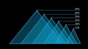 Hud azul del infographics de la carta de barra Fondo negro ilustración del vector