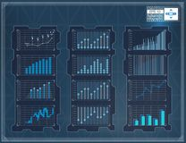 HUD background. Infographic elements graphic set. Digital data, business abstract background set. Stock Image