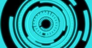 HUD cirkeln, det digitala huvudet upp skärmanvändargränssnitt roterar på svart bakgrund royaltyfri illustrationer
