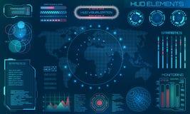 HUD Design Elements futurista Infographic o interfaz de la tecnología para la visualización de la información ilustración del vector