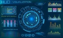 HUD Design Elements futurista Infographic ou relação da tecnologia para o visualização da informação ilustração stock