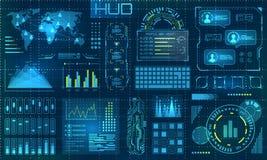 HUD Design Elements futurista Infographic ou relação da tecnologia para o visualização da informação ilustração royalty free