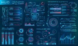 HUD Design Elements futuriste Infographic ou interface de technologie pour la visualisation de l'information illustration libre de droits