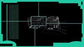 HUD Element in Hologramstijl met de geanimeerde vertoning van het draadkader van de bouw royalty-vrije illustratie