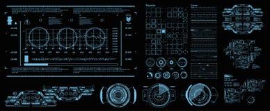HUD-elementen mega vastgesteld pak Scherm van de de werkelijkheidstechnologie van de dashboard het blauwe vertoning virtuele Futu stock illustratie