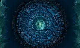 HUD Elements Design futurista, fondo de Techno ilustración del vector