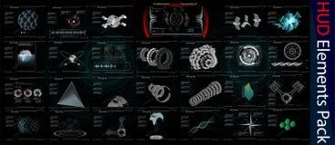 HUD Elements Mega Pack elementen Sc.i-het futuristische gebruikersinterface van FI Menuknoop Vector illustratie royalty-vrije illustratie