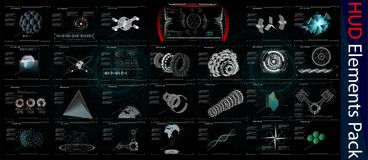 HUD Elements Mega Pack elementi Interfaccia utente futuristica di Sci fi Bottone del menu Illustrazione di vettore royalty illustrazione gratis
