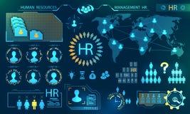 HUD Elements, recursos humanos de la búsqueda Perfil, curriculum vitae, candidato, Analytics del líder selecto del trabajo en equ stock de ilustración