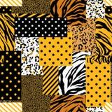Hud för ljus safari för sommar djur blandad med den geometriska modellen, prickar och bandet i modern sömlös patchworkcollagestil royaltyfri illustrationer