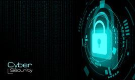 HUD a fermé le cadenas bleu sur le fond de code binaire illustration libre de droits