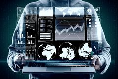 HUD and finance concept. Close up of hands holding laptop with digital business interface hologram on binary code background. HUD and finance concept. Double stock image