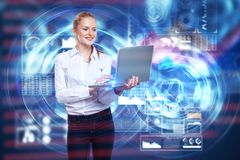 HUD and finance concept. Portrait of attractive young european woman using laptop with digital business projection. HUD and finance concept. 3D Rendering Royalty Free Stock Photography