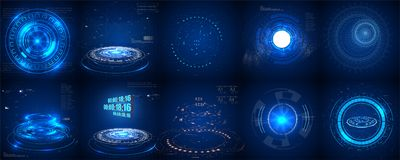 Hud futuristic element. Set of Circle Abstract Digital Technology UI Futuristic HUD. Virtual Interface Elements Sci- Fi Modern User For Graphic Motion stock illustration