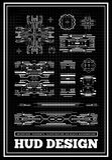 HUD Futuristic User Interface För teknologiskärm för science fiction framtida design abstrakt bakgrundsaffär Ställ in grafer och vektor illustrationer