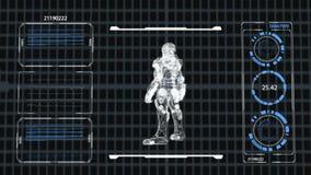 HUD Futurystyczny Zaawansowany Technicznie mężczyzna w opancerzenie Cyfrowego pokazu przeszukiwaczu, 4K, 3D grafika, czarny bachg zbiory