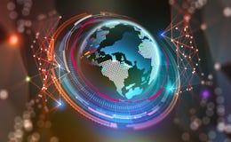 HUD Grande concetto di dati Pianeta del Cyberspace Saluti attraverso il mondo illustrazione vettoriale
