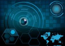 HUD GUI Radar-het monitorscherm Futuristische speltechnologie buitens Stock Foto's