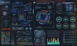 HUD i UI Ustaleni elementy Sci Fi Futurystyczny interfejs użytkownika, technika i nauka projekt, ilustracja wektor